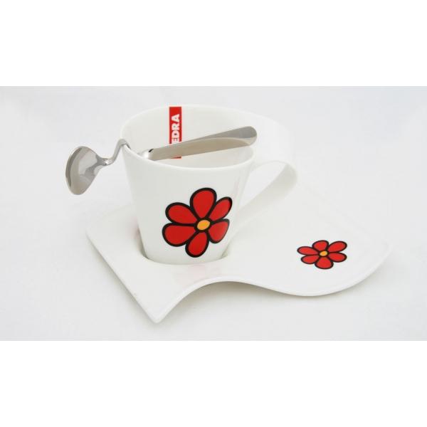 DEDRA: Hrníček TWIST bílý s červenými květy