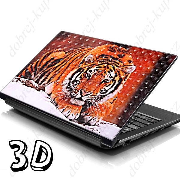 Dekorativní samolepící tapeta na notebook - tiger 3D