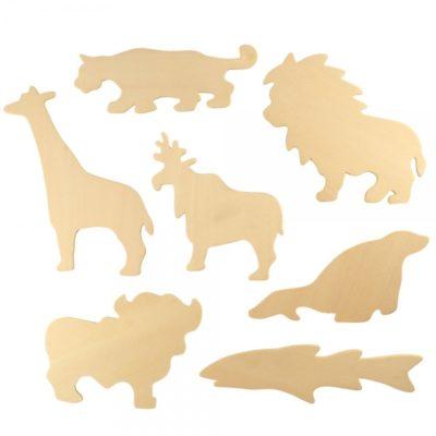 BIGJIGS: Dřevěné obkreslovací vzory - Obrázky divokých zvířat ZOO 2