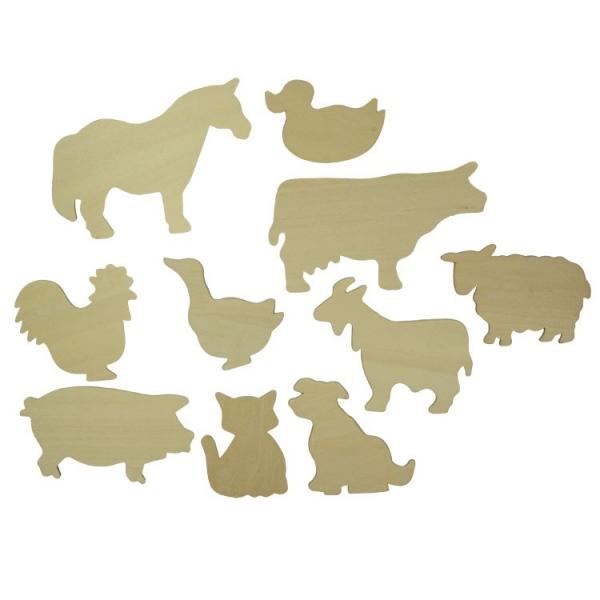 BIGJIGS: Dřevěné obkreslovací vzory - Obrázky domácích zvířat - Farm Animals